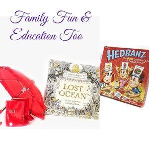 Hedbanz Game & Lost Ocean Coloring Book Family Fun